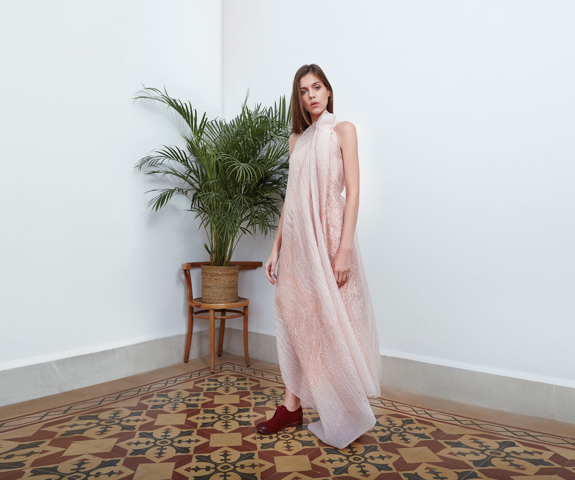 Lara Khoury | Eudemonia Spring 2019 | look 23-1 | Yarn Embroidered Pink Silk Volume Dress.jpg