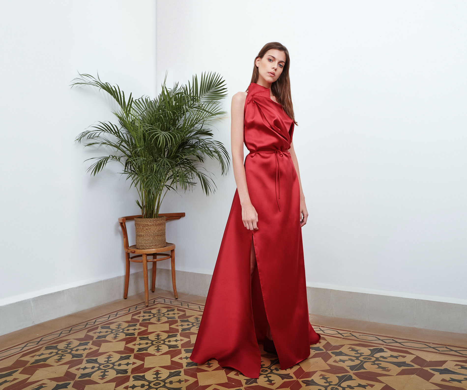 Lara Khoury | Eudemonia Spring 2019 | look 25-1 | Red Silk Molded Volume Dress.jpg