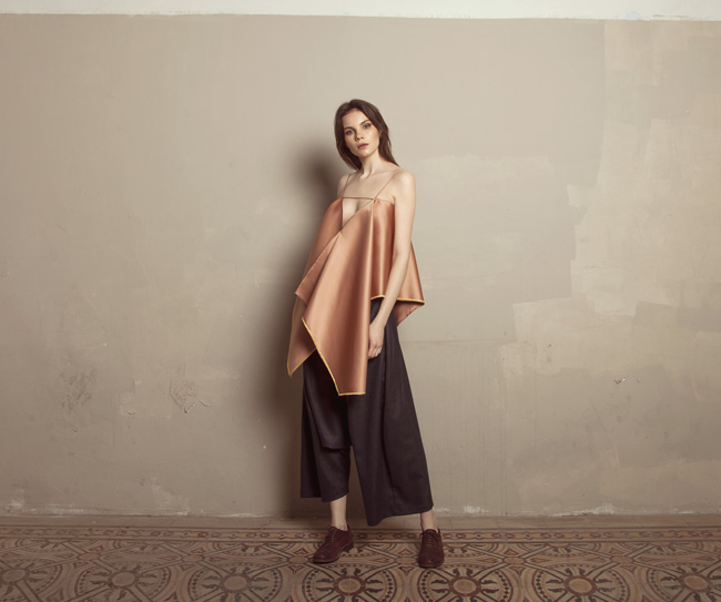 Lara Khoury | Iolanda Fall 2019 | look 3 | Copper Rose Satin Drape Top and Dark Blue Wool Sarwal Pants.jpg