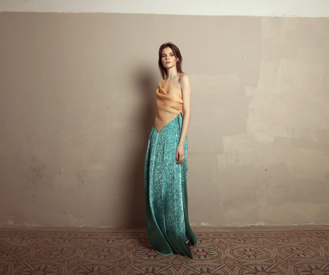 Lara Khoury | Iolanda Fall 2019 | look 11 | Peach Gazar Wrap Top and Turquoise Lamé Wraparound Skirt.jpg