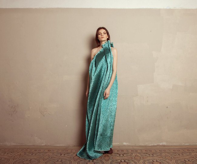 Lara Khoury | Iolanda Fall 2019 | look 12 | Turquoise Lamé Molded Shoulder Gown.jpg