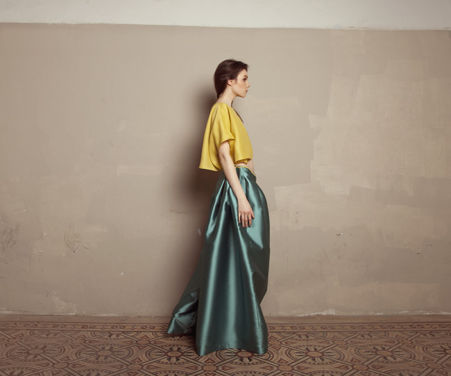 Lara Khoury | Iolanda Fall 2019 | look 13 | Yellow Gazar Asymmetrical Crop Top and Turquoise Oversize Pants.jpg
