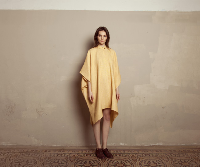 Lara Khoury | Iolanda Fall 2019 | look 14 | Yellow Linen Shirt Dress.jpg