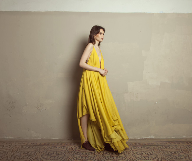 Lara Khoury | Iolanda Fall 2019 | look 18 | Floor Length Yellow Muslin Dress.jpg