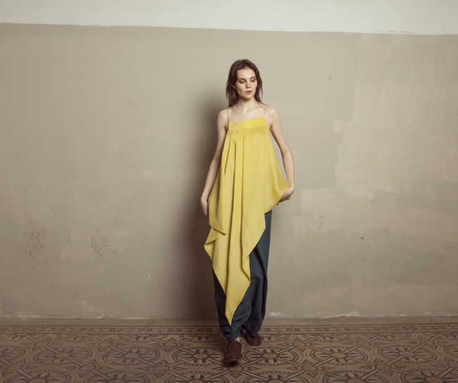 Lara Khoury | Iolanda Fall 2019 | look 19 | Yellow Gazar Asymmetrical Pleat Top and Dark Blue Linen Pleat Pants.jpg