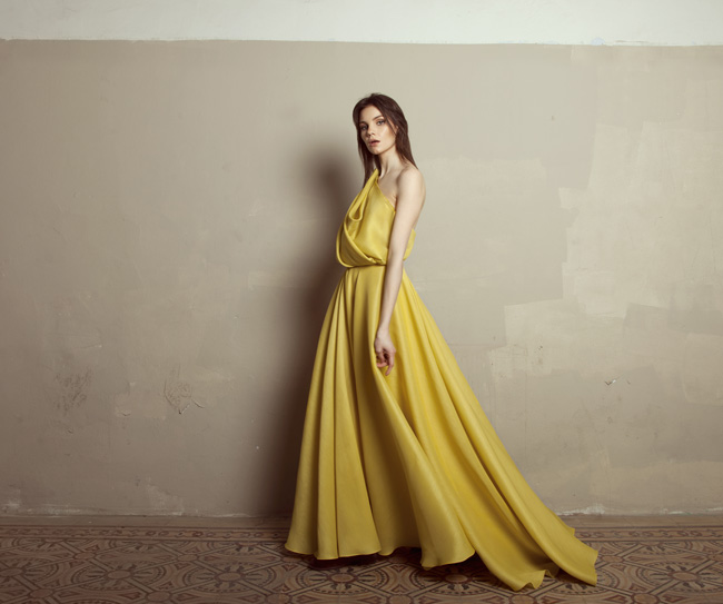 Lara Khoury | Iolanda Fall 2019 | look 25 | Yellow Gazar One Shoulder Dress.jpg