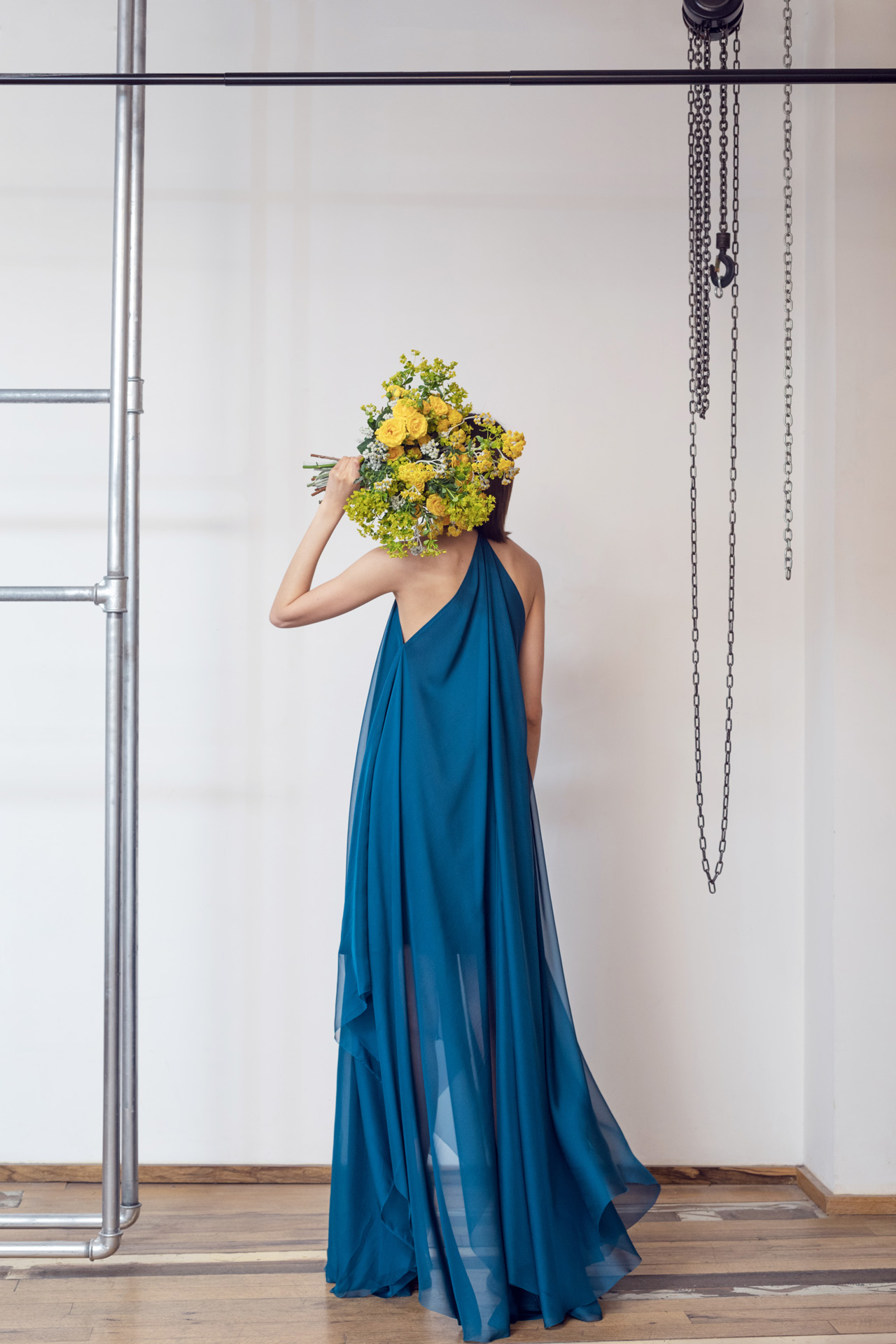 Lara Khoury | LK Stripped | Capsule 1-2019 | 11- Prussian Blue V-neck Maxi Dress 2.jpg
