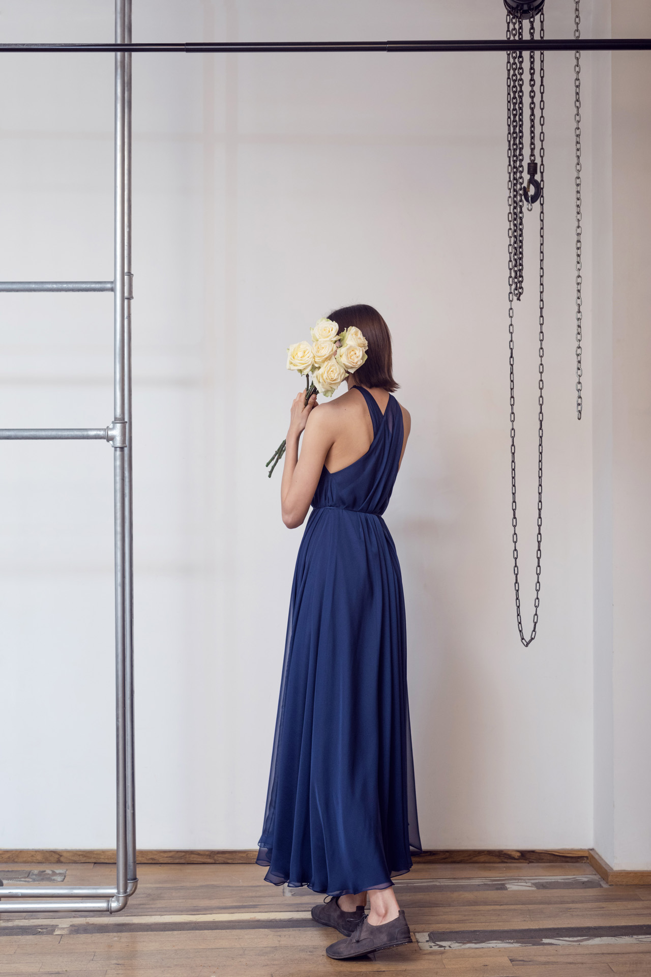 Lara Khoury | LK Stripped | Capsule 1-2019 | 14-Navy Blue Muslin Halter Dress 2.jpg