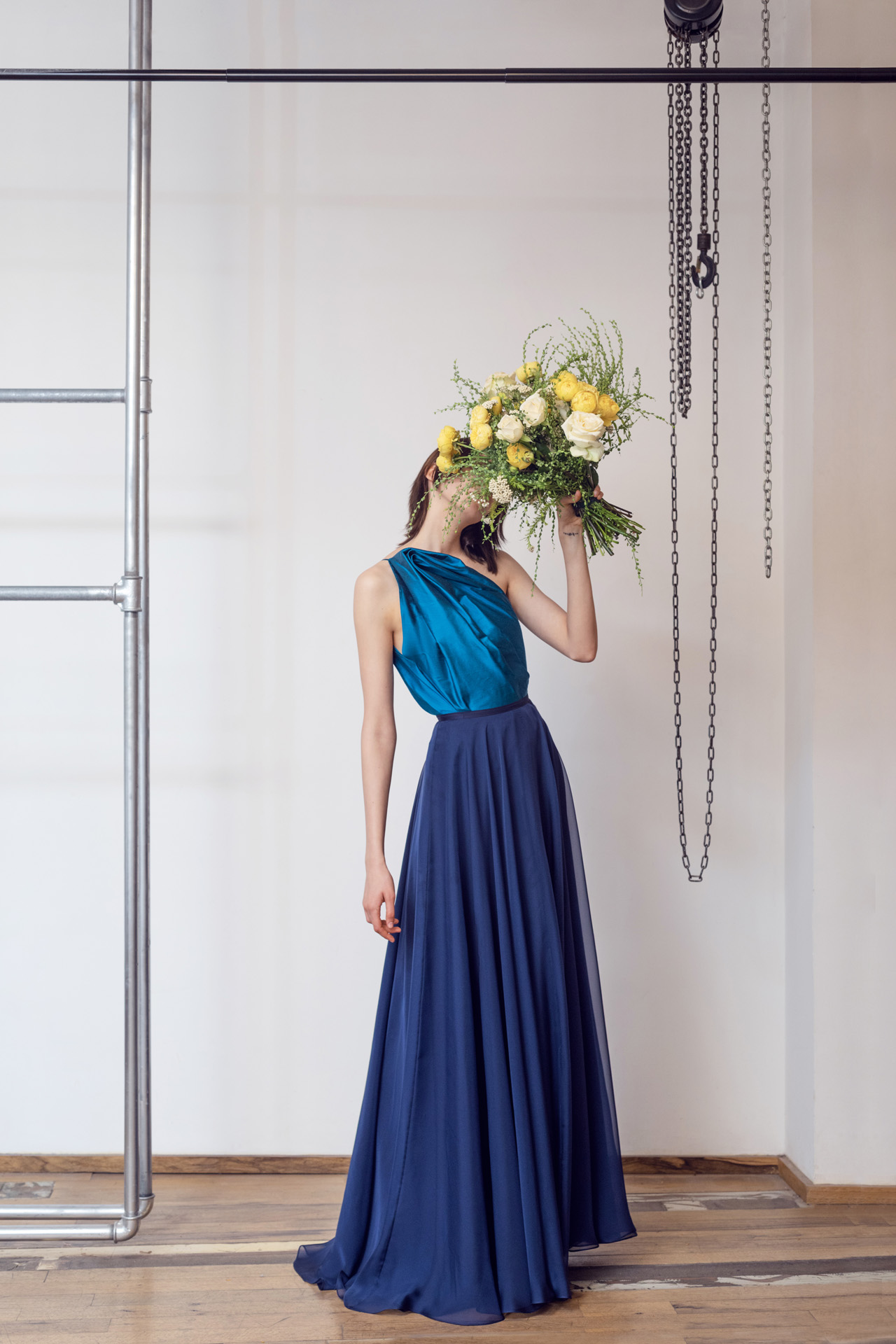 Lara Khoury | LK Stripped | Capsule 1-2019 | 15- Mediterranean Blue Taffeta Molded Top and Navy Blue Muslin Drape Skirt 1.jpg