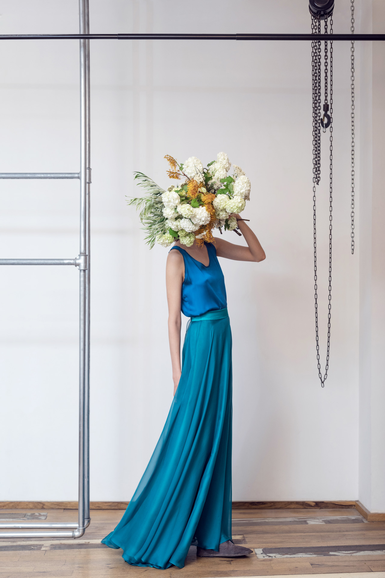 Lara Khoury | LK Stripped | Capsule 1-2019 | 12- Cobalt Blue Bell Curve Hem Top and Cerulean Blue Muslin Flare Skirt 1.jpg
