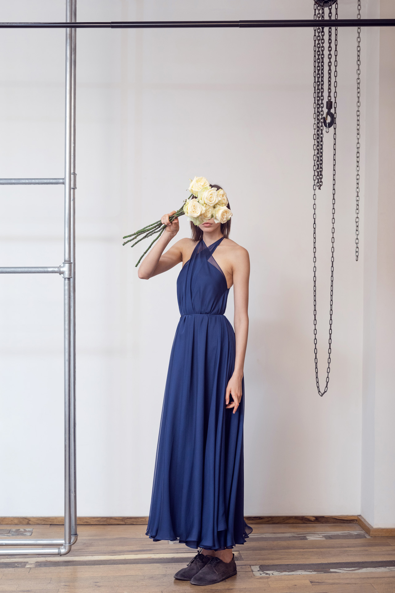 Lara Khoury | LK Stripped | Capsule 1-2019 | 14-Navy Blue Muslin Halter Dress 1.jpg