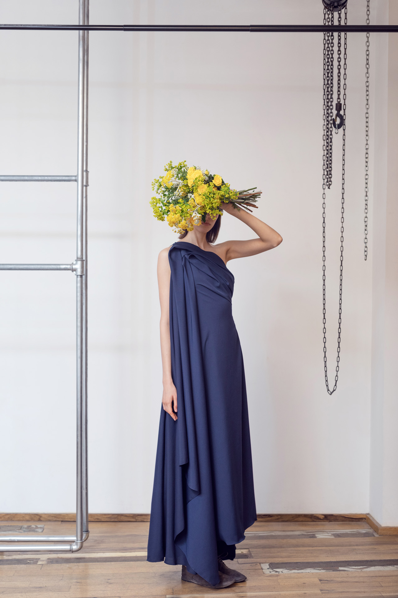 Lara Khoury | LK Stripped | Capsule 1-2019 | 16- Navy Blue Crepe Molded Drape Dress 1.jpg