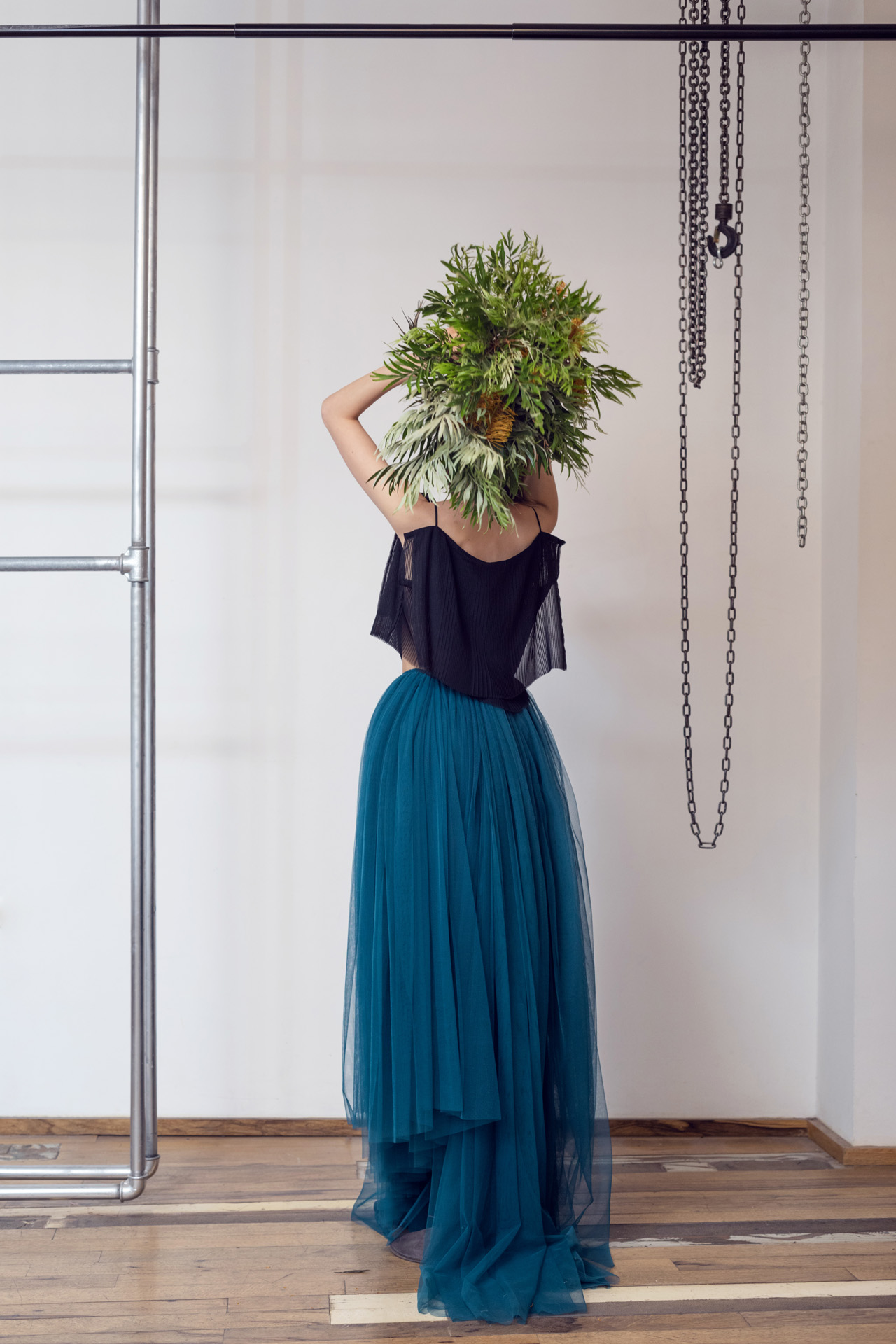 Lara Khoury | LK Stripped | Capsule 1-2019 | 13-Lara Khoury | LK Stripped | Capsule 1-2019 | 13- Tiered Double Layer Black Cotton Crop Top and Voluminous Blue Green Tulle Maxi Skirt 2.jpg
