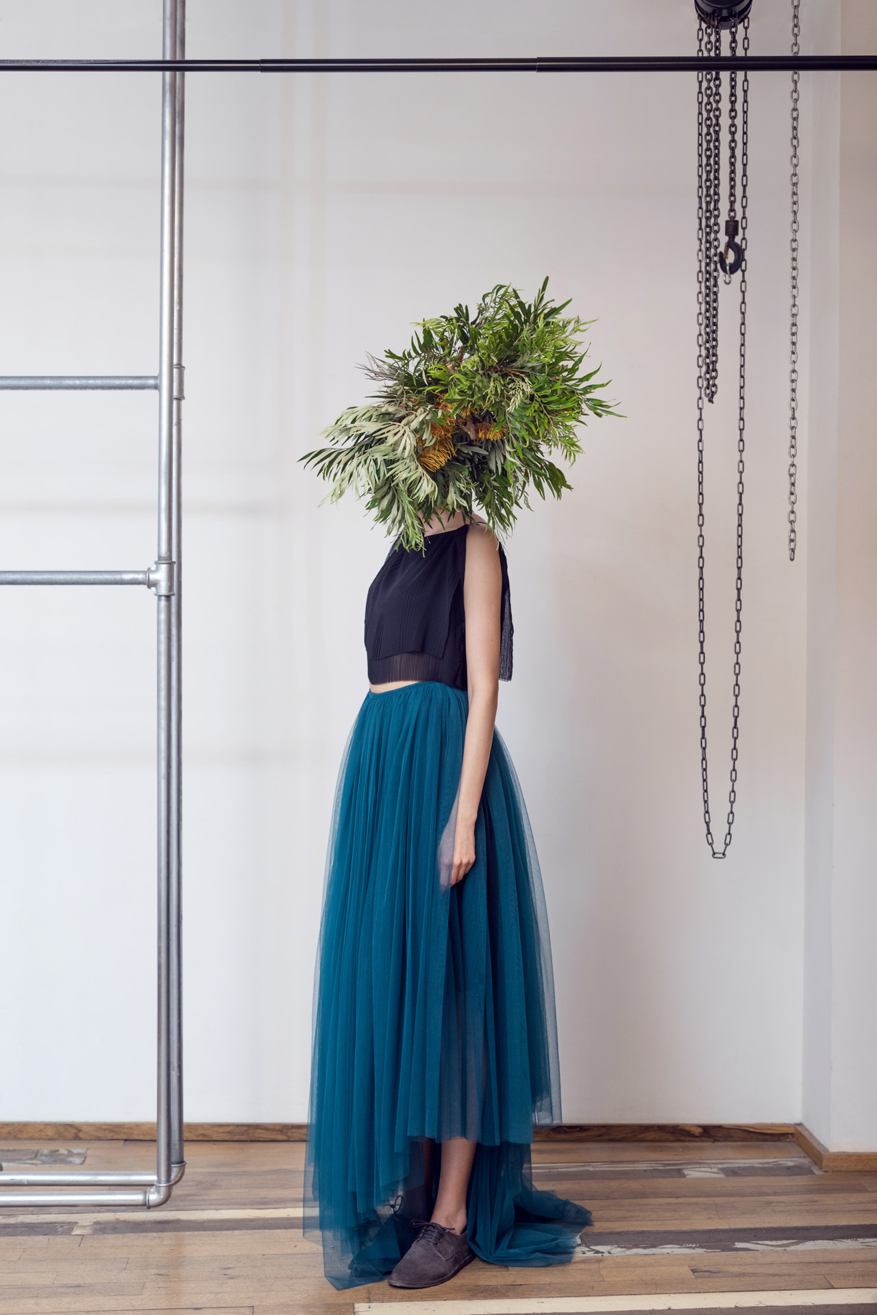 Lara Khoury | LK Stripped | Capsule 1-2019 | 13- Tiered Double Layer Black Cotton Crop Top and Voluminous Blue Green Tulle Maxi Skirt 1.jpg