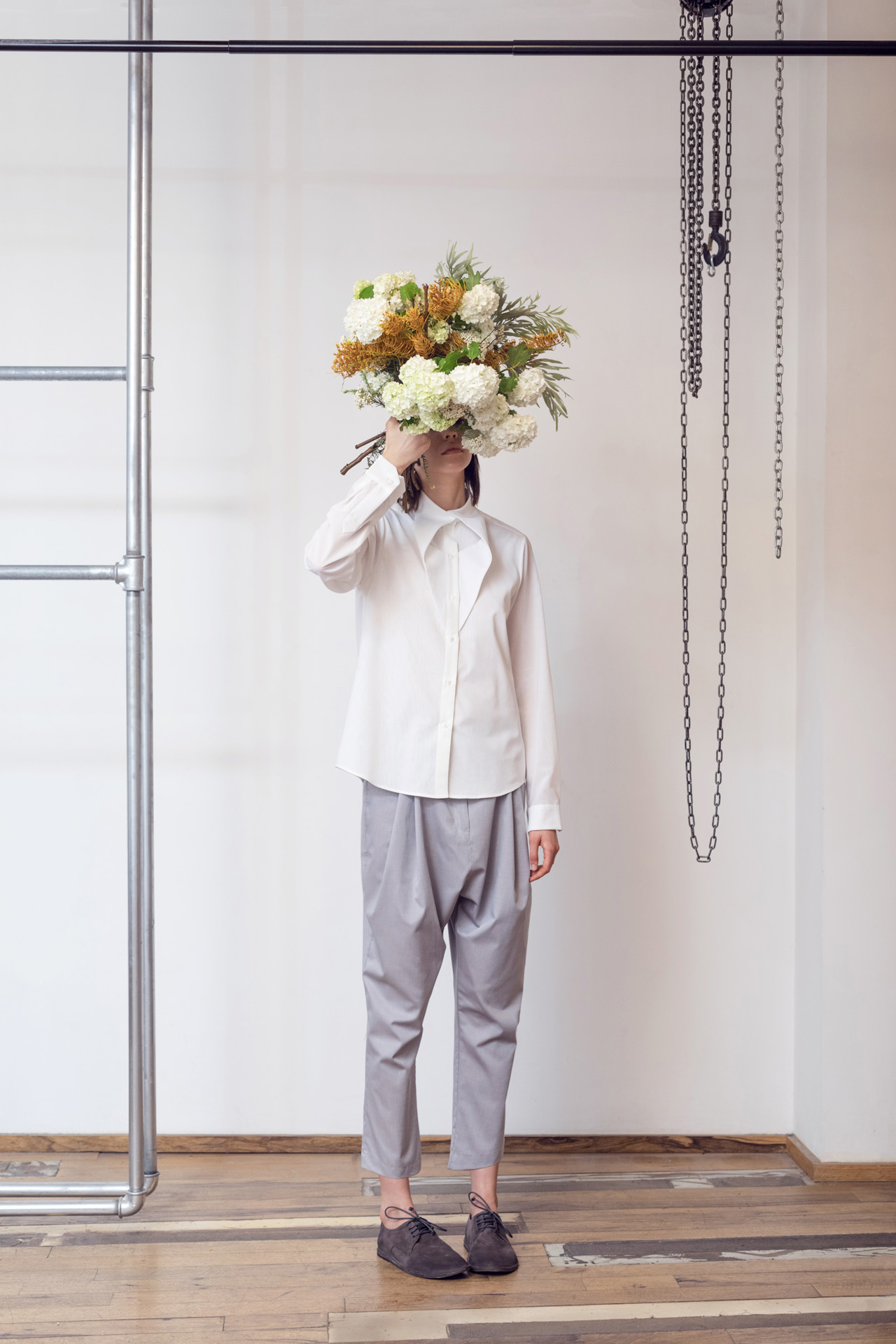 Lara Khoury | LK Stripped | Capsule 1-2019 | 6- Long Sleeve Off White Cotton Voile Shirt and Light Gray Cotton Poplin Sarwal Pants 1.jpg