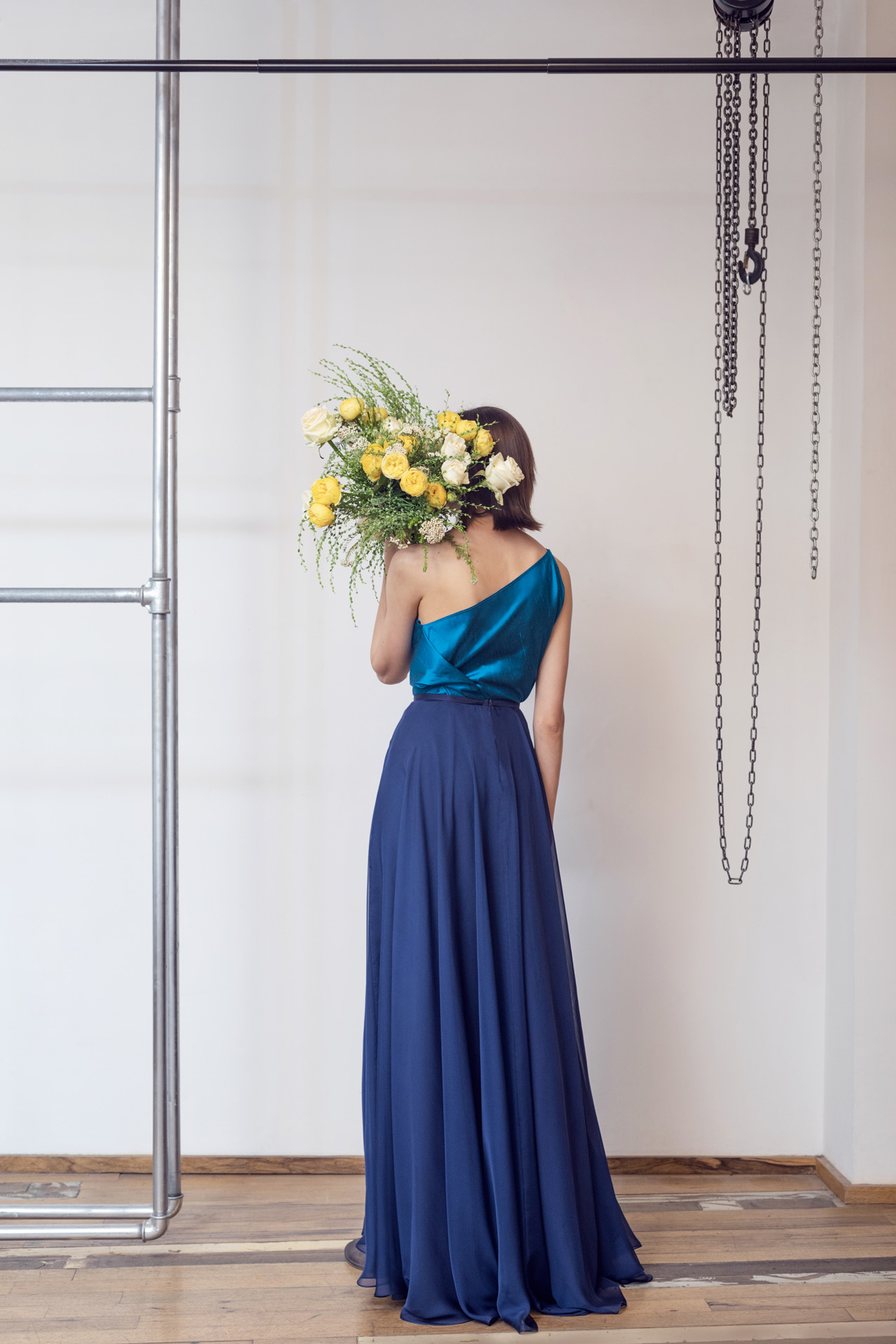 Lara Khoury | LK Stripped | Capsule 1-2019 | 15- Mediterranean Blue Taffeta Molded Top and Navy Blue Muslin Drape Skirt 2.jpg
