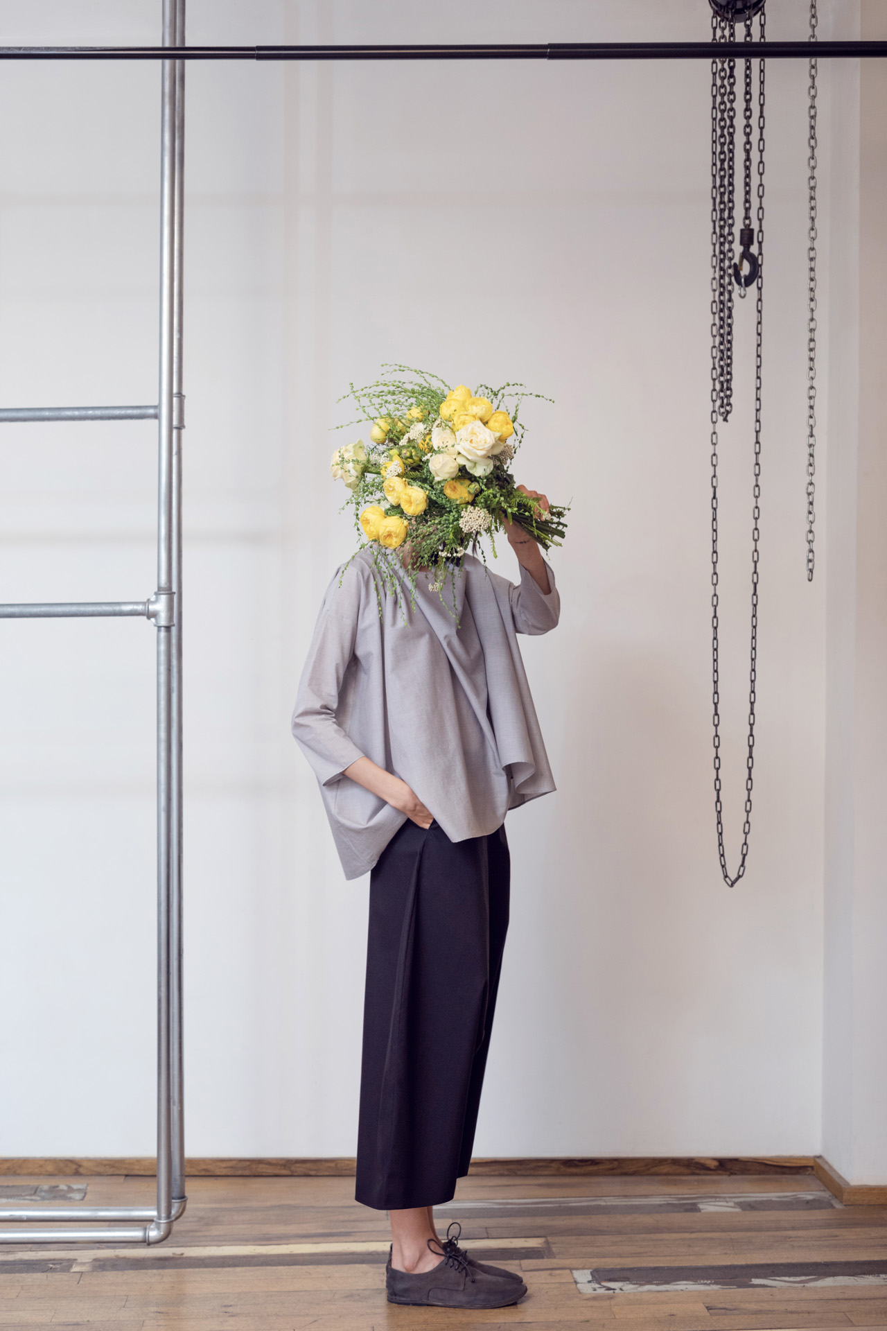 Lara Khoury | LK Stripped | Capsule 1-2019 | 2- Light Gray Cotton Poplin Cowl Neck Top and Black Cotton Poplin Sarwal Pants 1.jpg