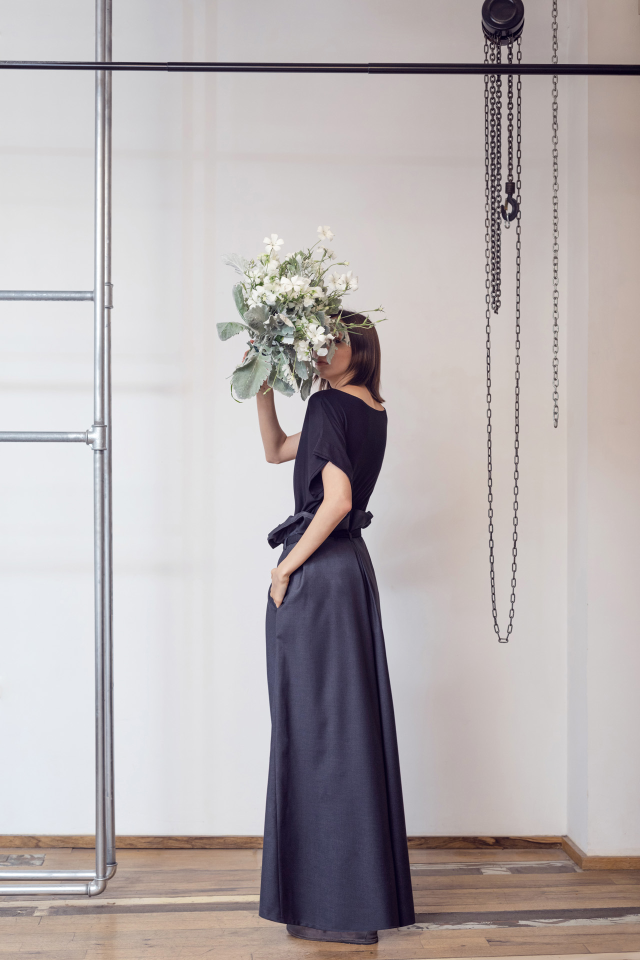 Lara Khoury | LK Stripped | Capsule 1-2019 | 3- Soft Black Jersey Top and Voluminous Dark Gray Wool Pants 2.jpg