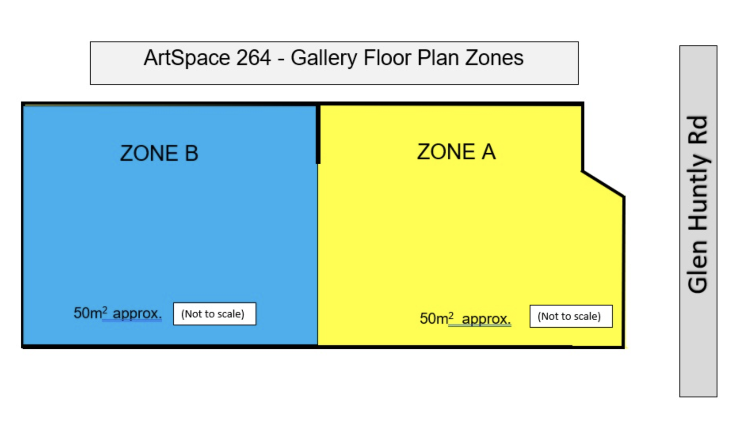 ARTSPACE 264 GALLERY HAS TWO EXHIBITION ZONES - Zone A & Zone B.Zone A has window exposure andZone B is at the rear of the gallery