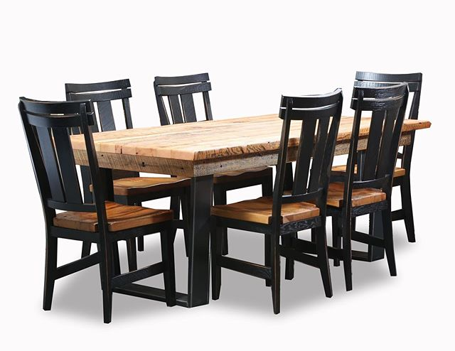 Grainery Dining Table by Kathryn Hexum Designs - reclaimed old growth virgin pine repurposed for a sturdy, handcrafted set. Check the reclaimed seats on the chairs, too. #reclaimedwoodfurniture #reclaimedtable