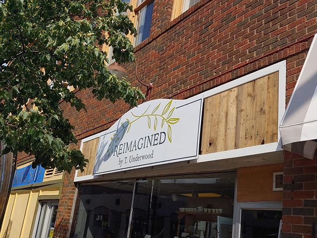 @t.l.underwood sign featuring our old growth reclaimed pine! #reclaimedwood #localbusiness