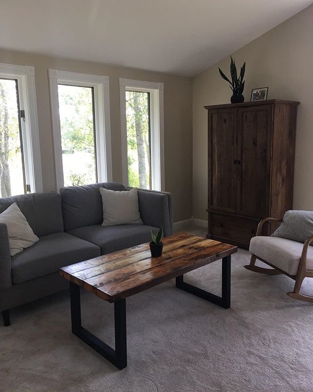 Brilliant use of our reclaimed pine. This coffee table and end table add to  the comfort and coziness of this living room. Head over to our website for info on this affordable, historic reclaimed resource.