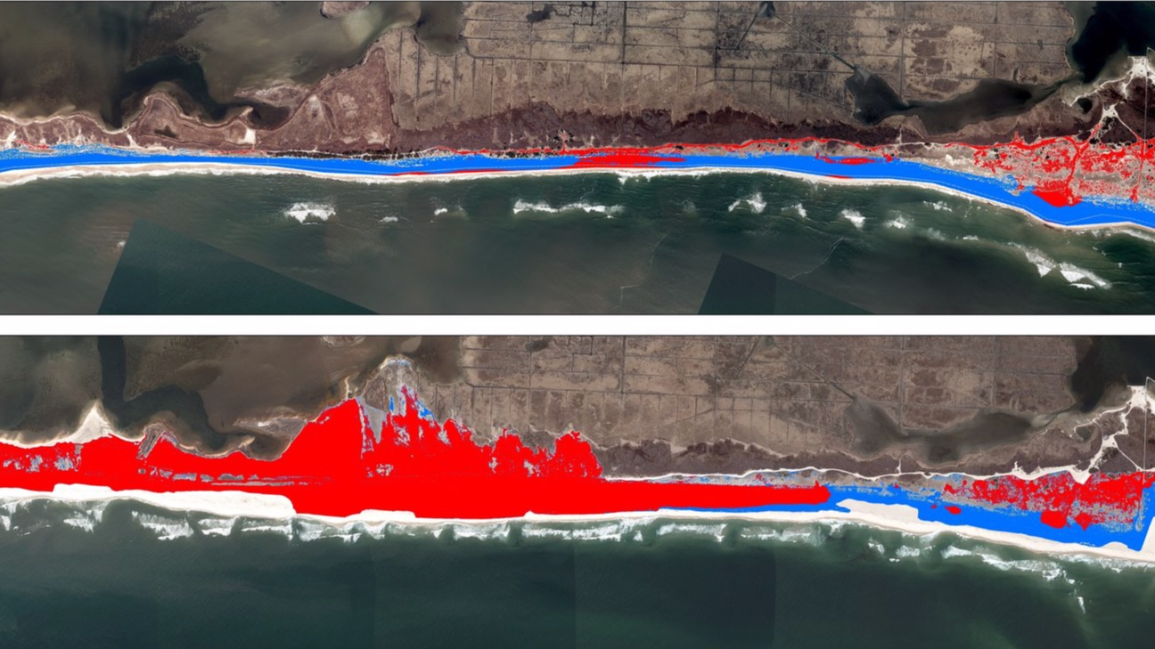 Classification of suitable (red) and unsuitable (blue) plover habitat prior to (top) and after (bottom) hurricane Sandy struck Fire Island, NY