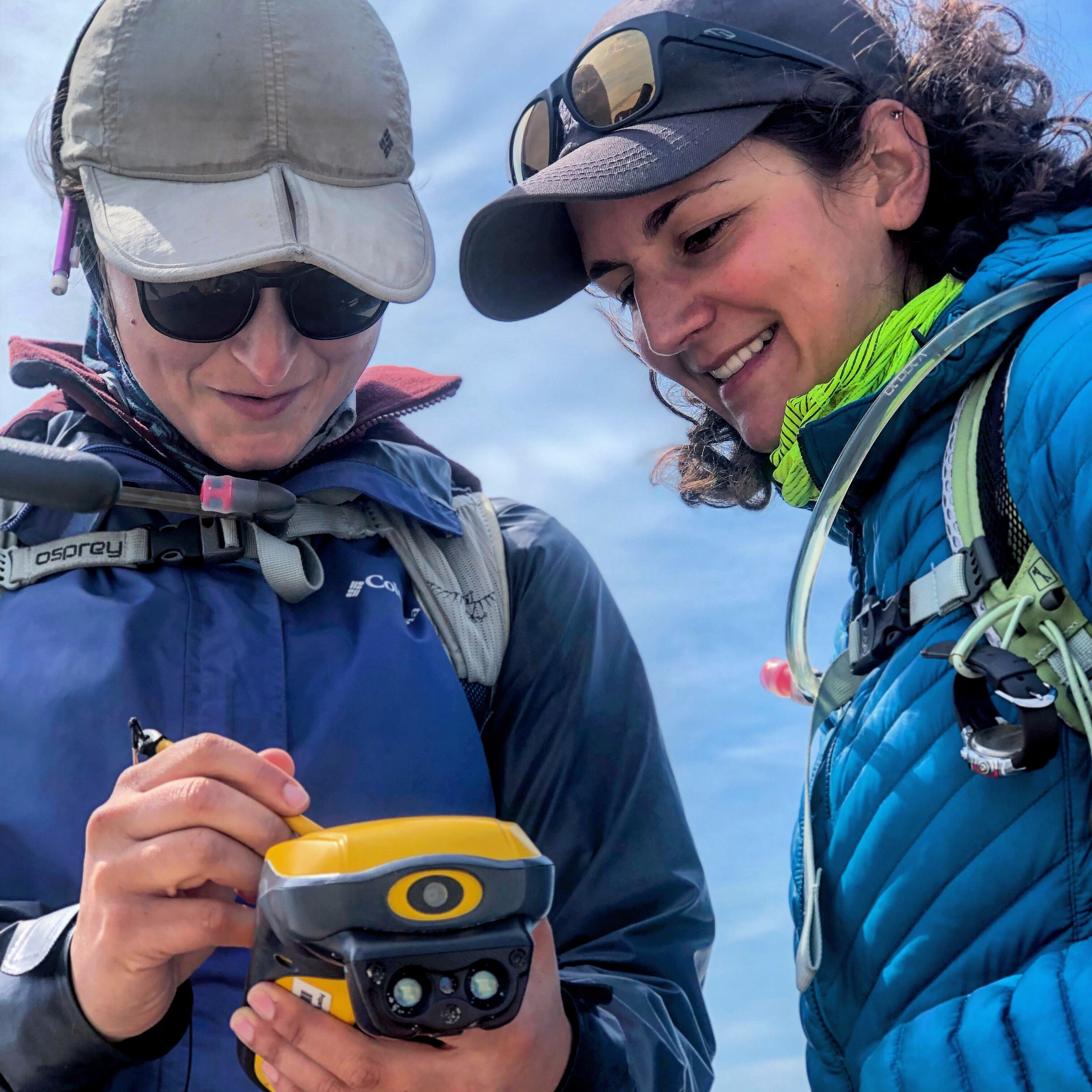 Lead author, Katie Walker (R) collecting a nest location at Democrat Point, Fire Island, NY