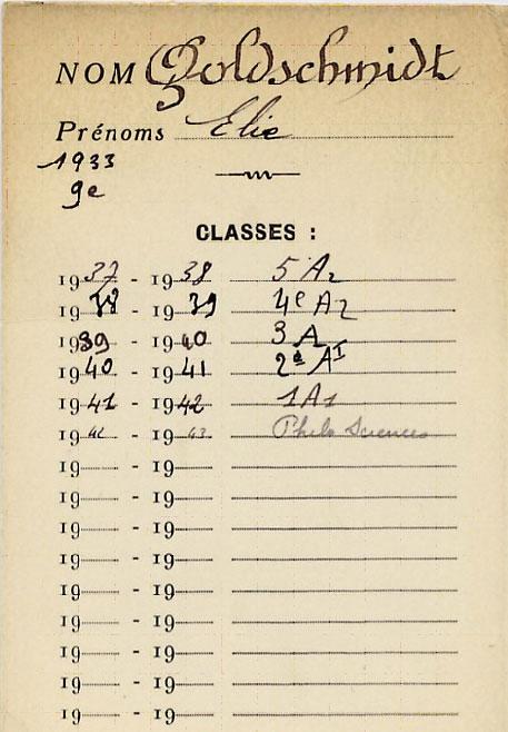 Document scolaire de Elie, Goldschmidt, Lyon