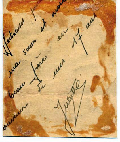 Bout de lettre de Juliette, Hasson, Lyon