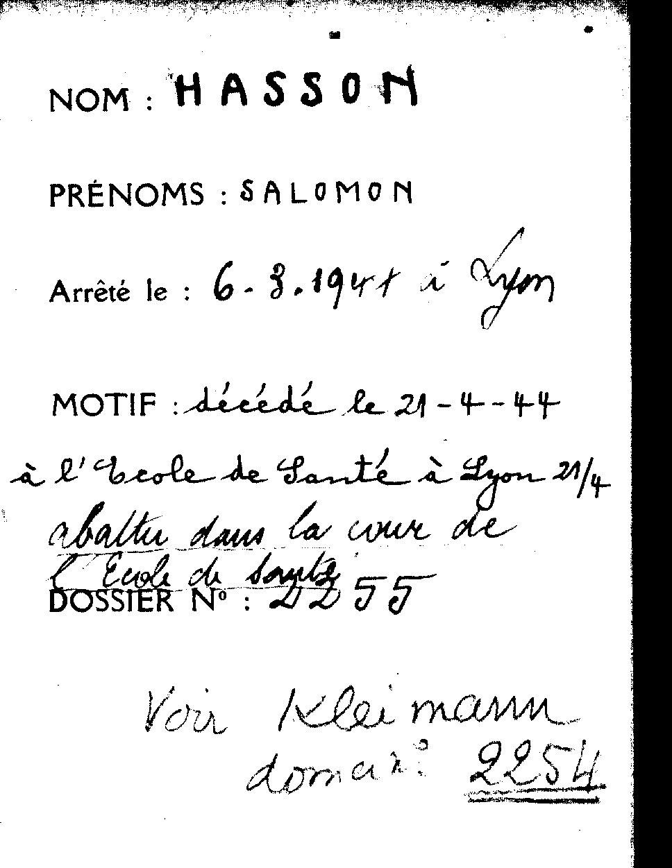Document officiel concernant Salomon, Hasson, Lyon