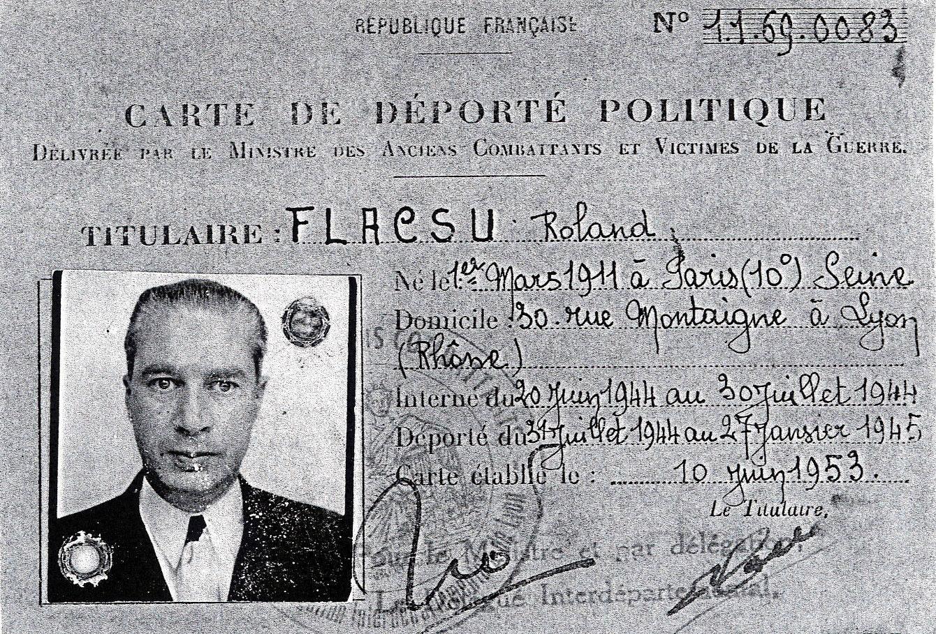 Carte de déporté politique de Roland, Flacsu, Lyon