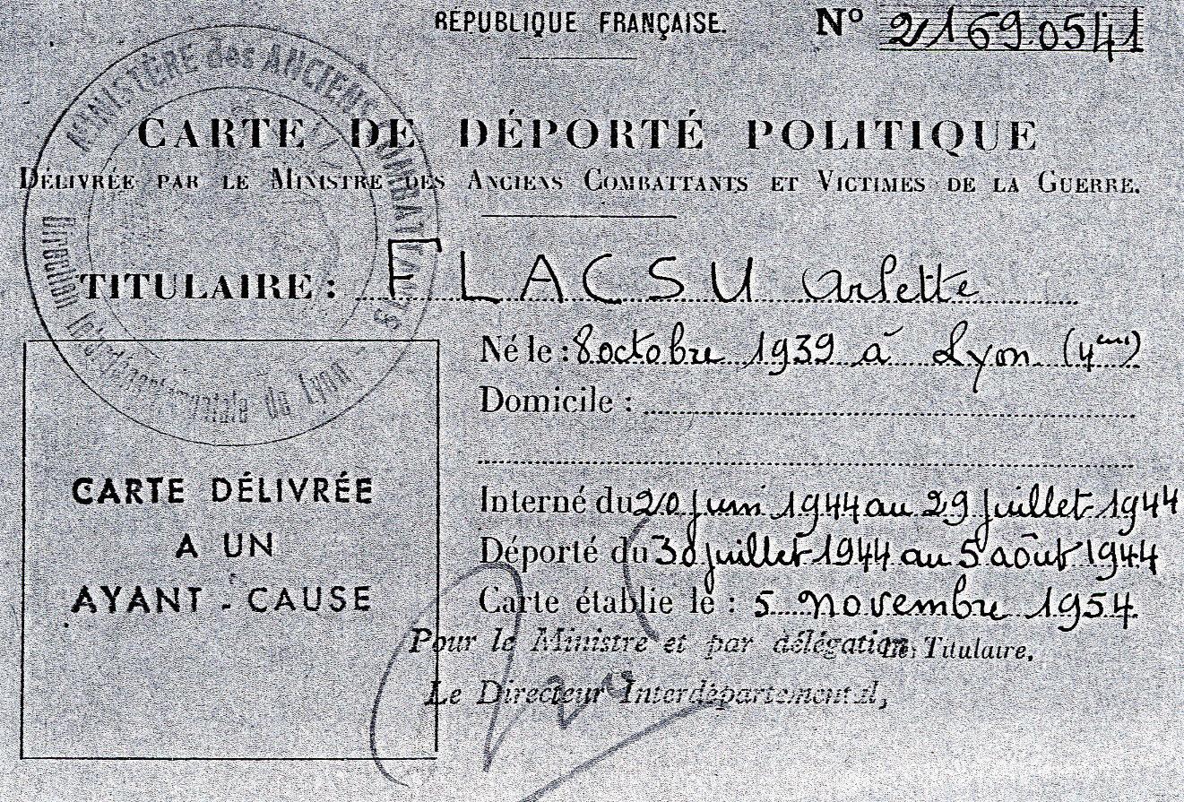 Carte de déportée politique de Arlette, Flacsu, Lyon
