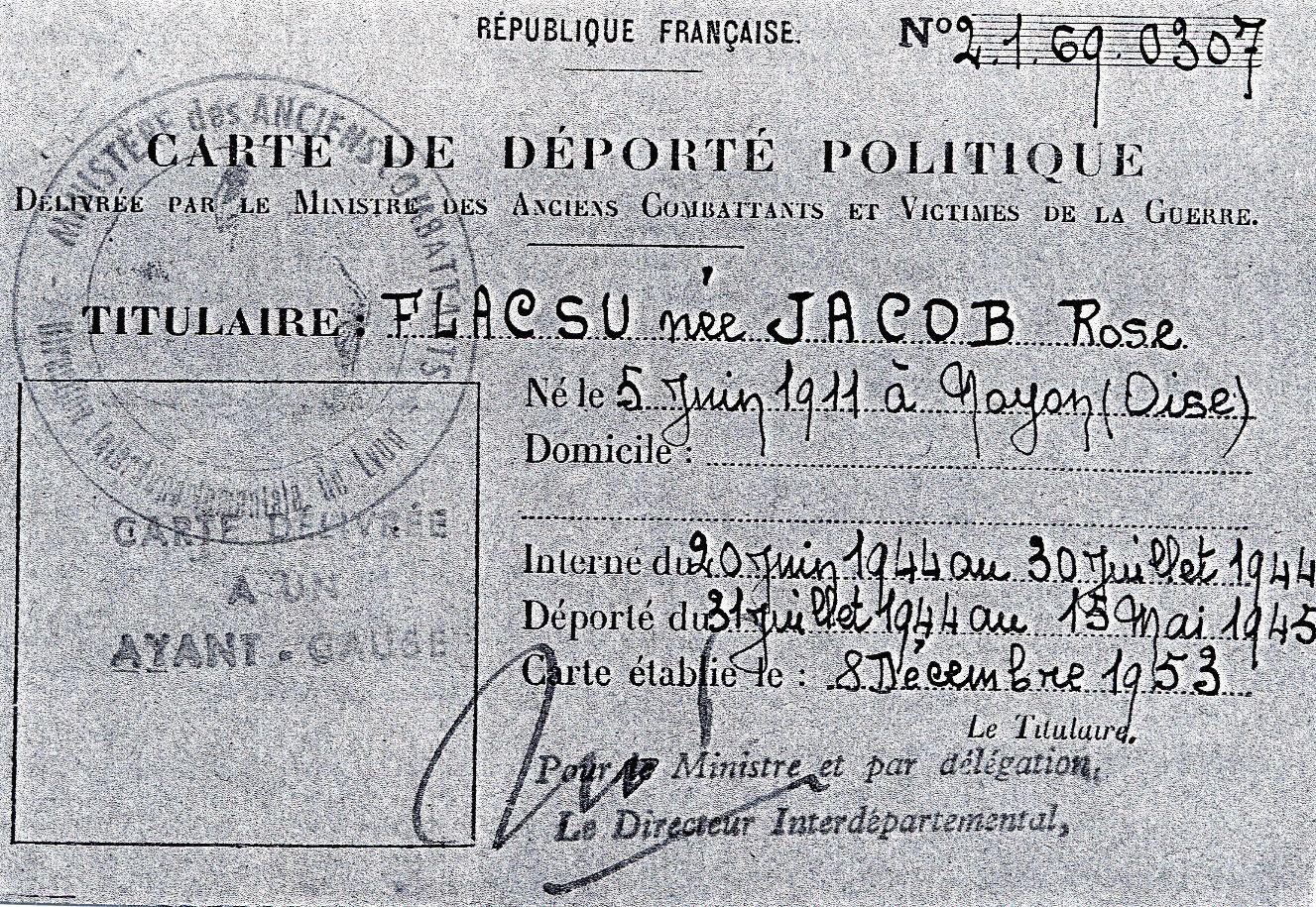 Carte de déportée politique de Rose, Flacsu, Lyon