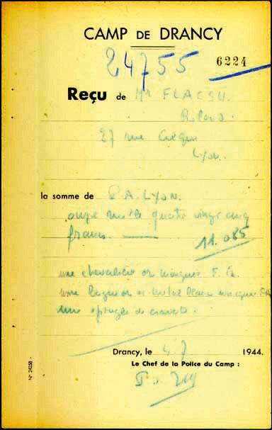 Reçu du camp de Drancy pour Roland, Flacsu, Lyon