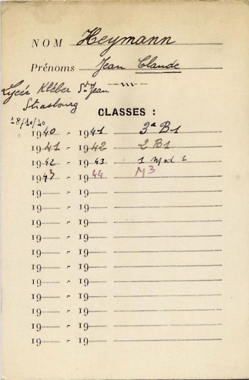Document scolaire du lycée Kléber St Jean à Strasbourg concernant Jean-Claude, Heymann, Lyon