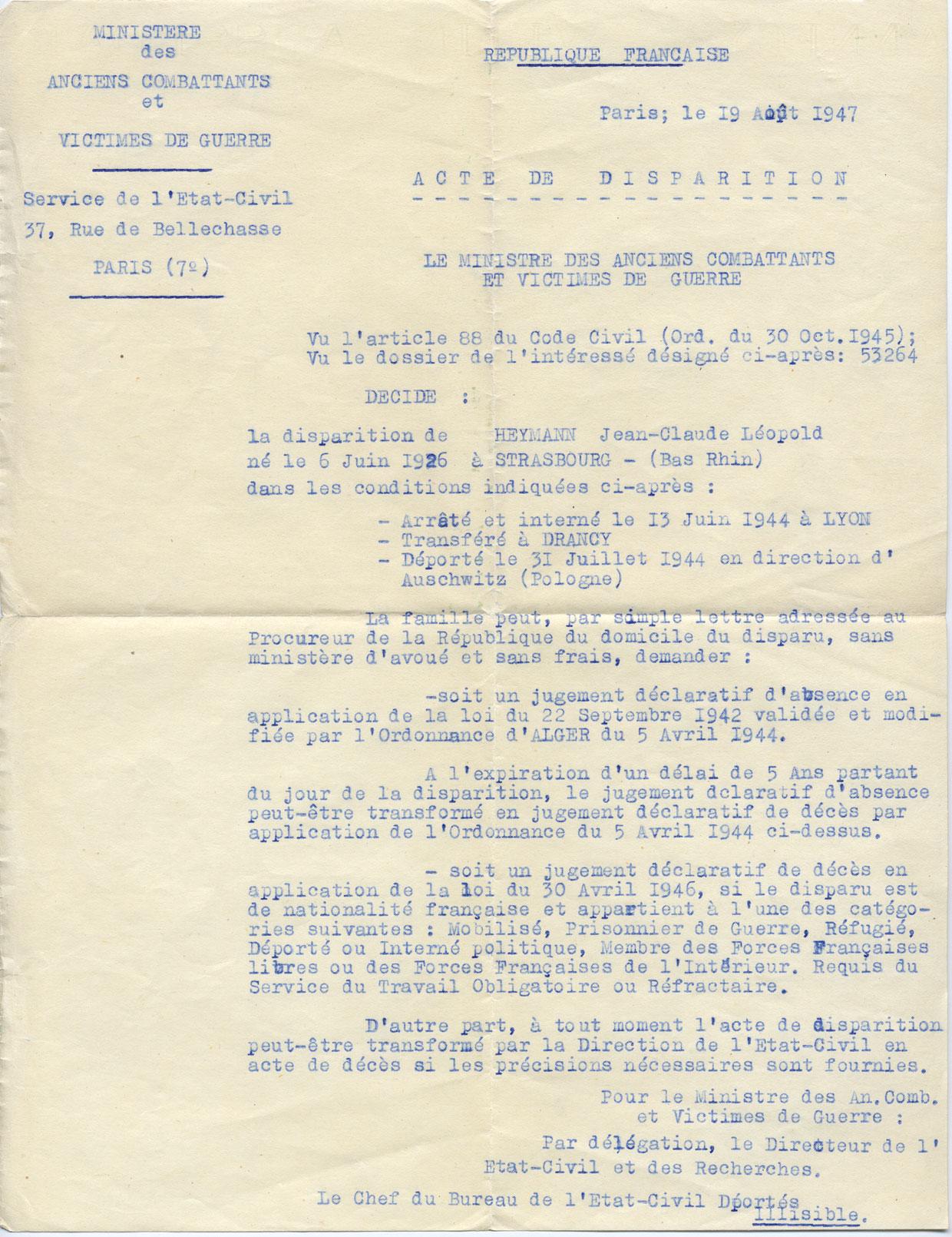 Acte de disparition de Jean-Claude, Heymann, Lyon