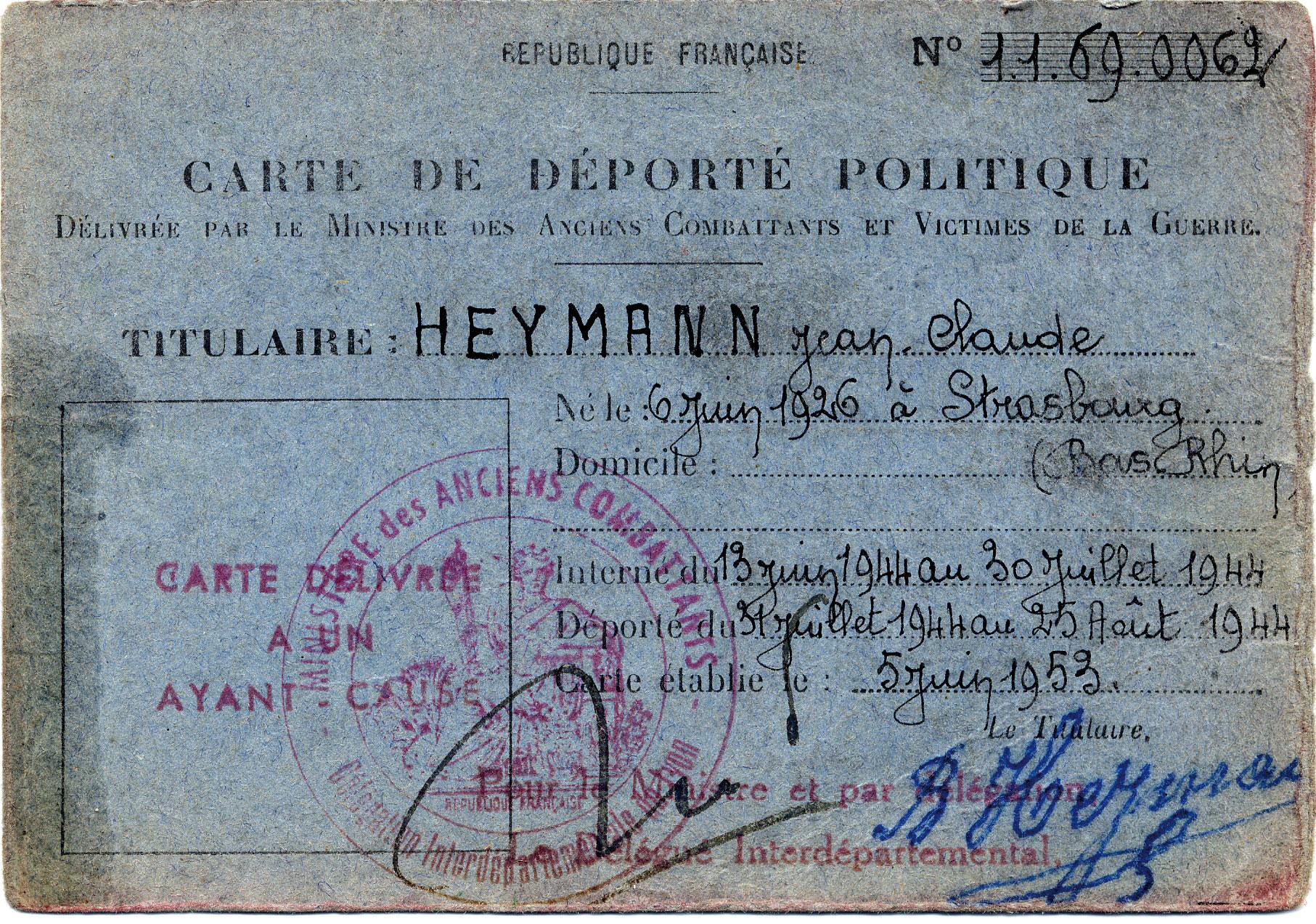 Carte de déporté politique de Jean-Claude, Heymann, Lyon