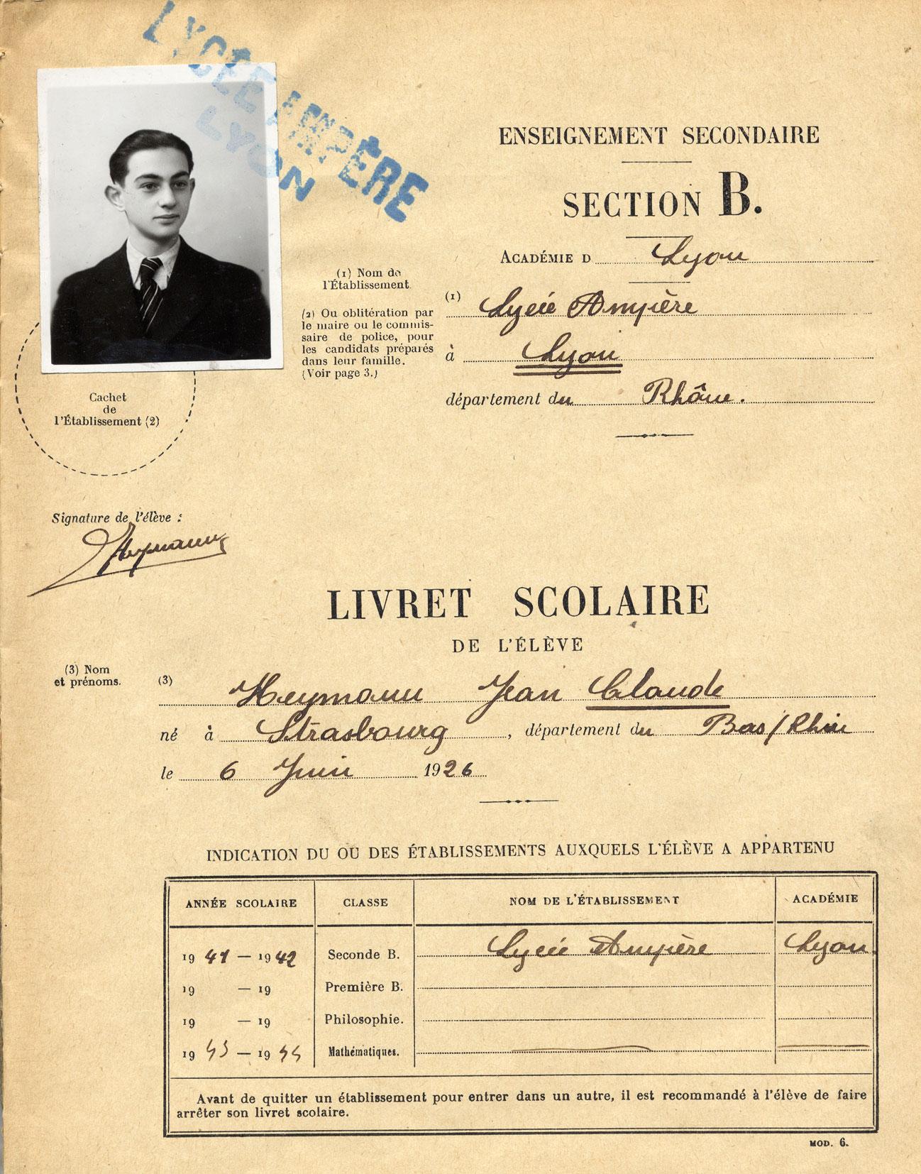 Livret scolaire du lycée Ampère de Jean-Claude, Heymann, Lyon