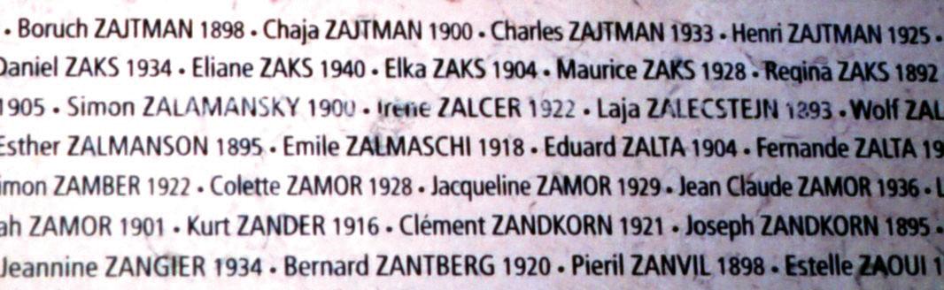 Mur avec Boruch, Chaja, Charles et Henri, Zajtman, Décines