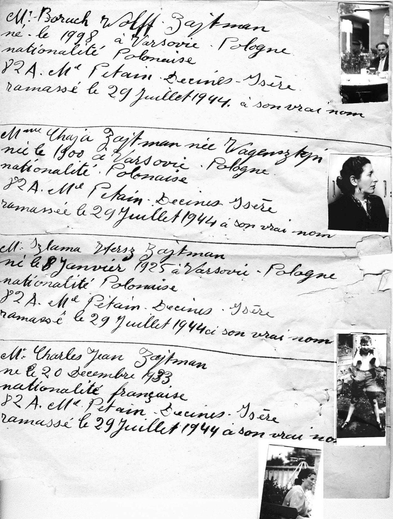 Informations sur Boruch, Chaja, Izlama et Charles, Zajtman, Décines