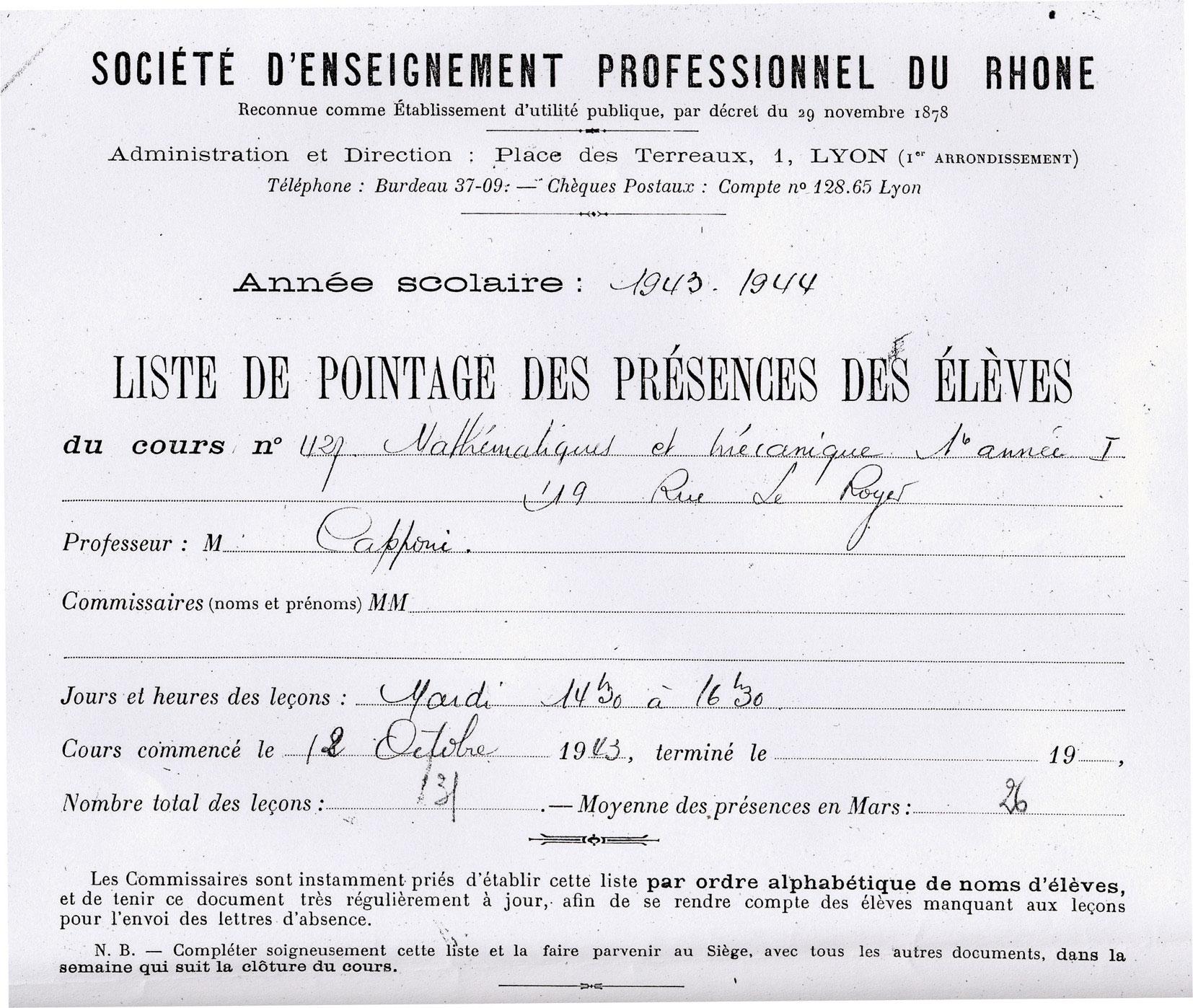 Document scolaire SEPR, Touitou, Saint-Fons