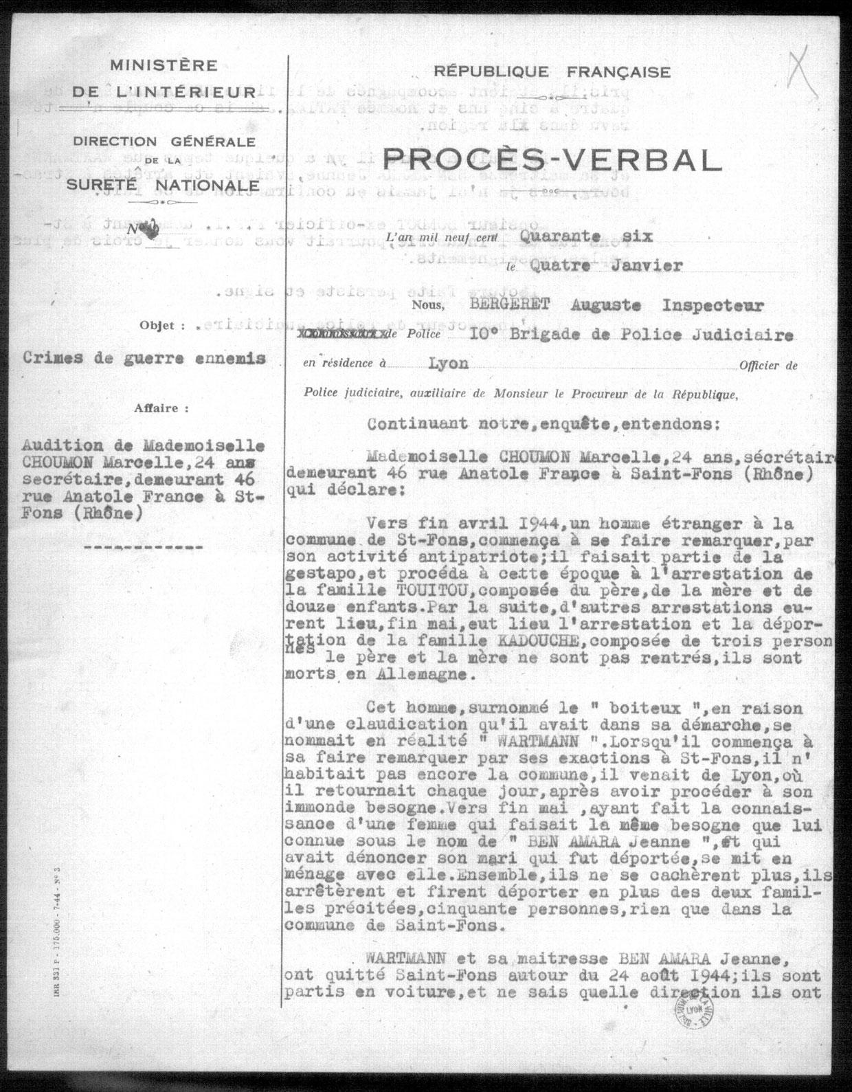 Procès verbal, page 1, Touitou, Saint-Fons