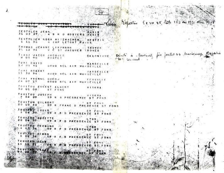 Fiche de convoi 76 avec Ernest, Joseph, Gilbert, Louis, Josette, Fernand, Simon, Jean et Isaac, Touitou, Saint-Fons