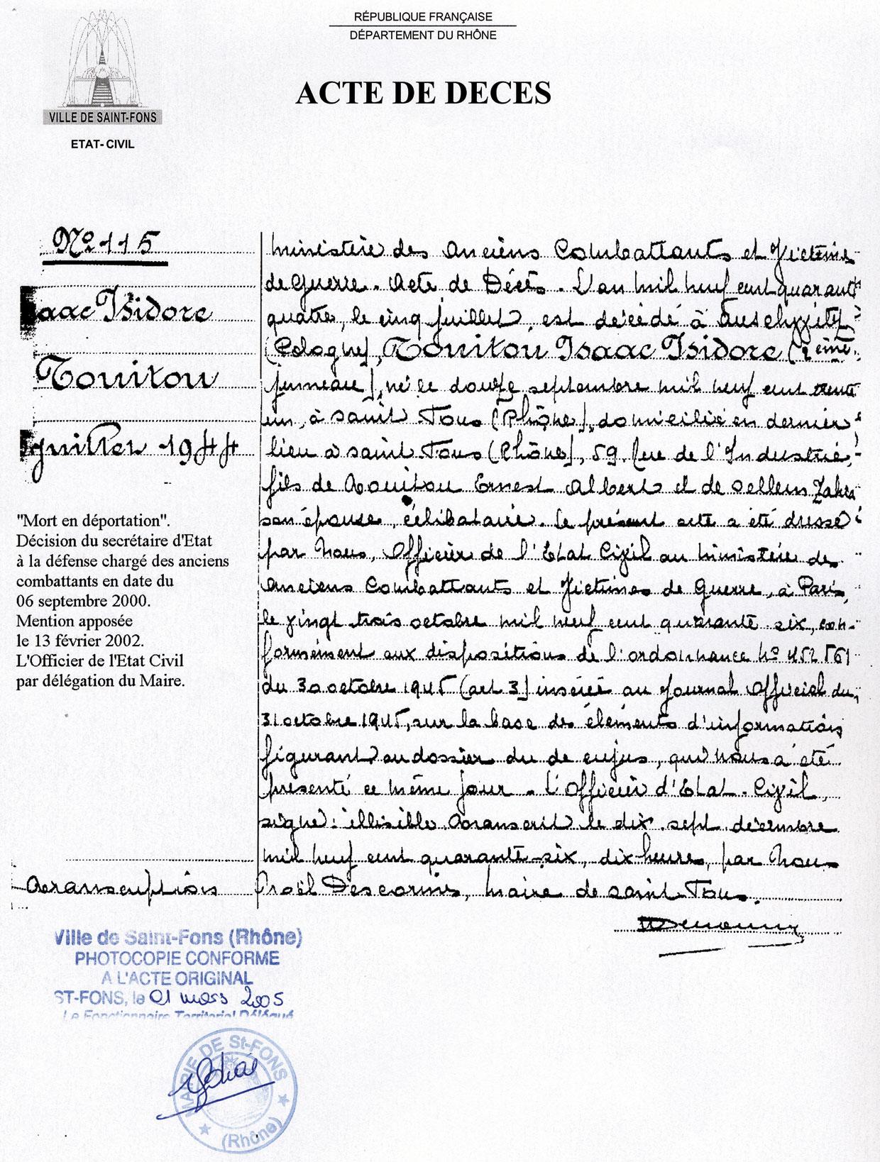 Acte de décès de Isaac, Touitou, Saint-Fons