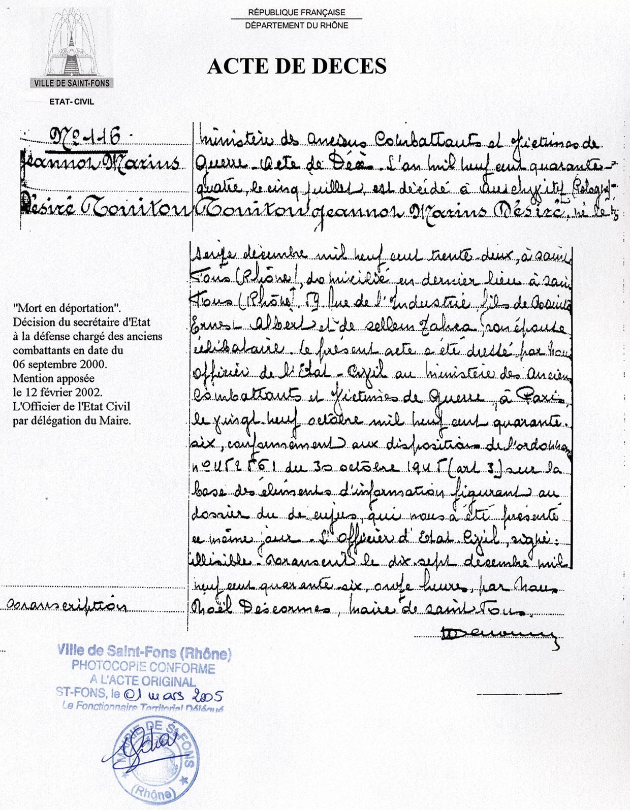 Acte de décès de Jeannot, Touitou, Saint-Fons