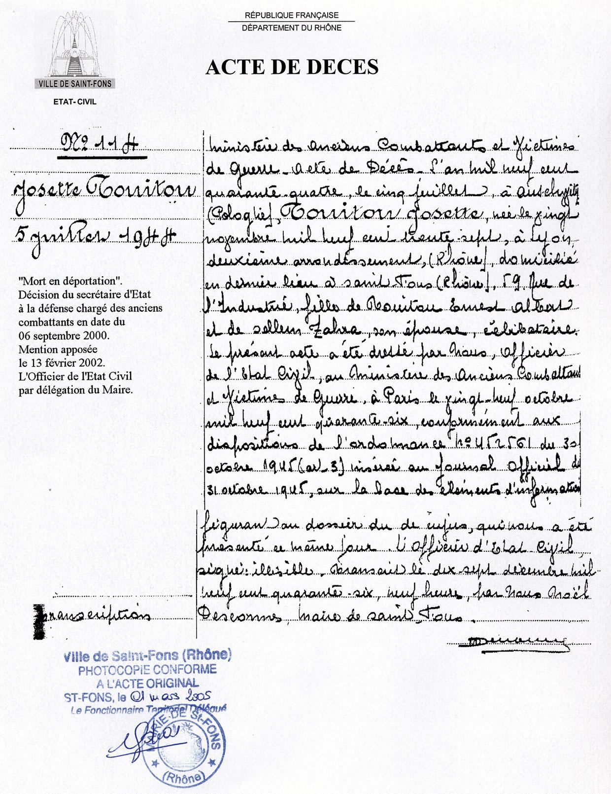 Acte de décès de Josette, Touitou, Saint-Fons