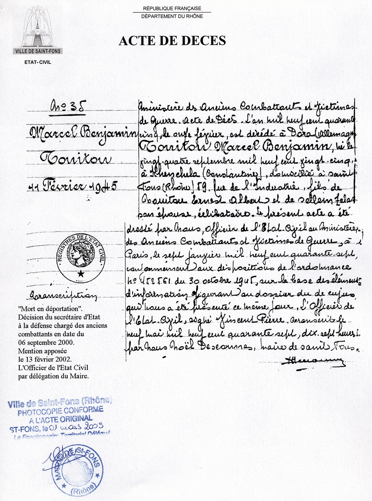 Acte de décès de Marcel, Touitou, Saint-Fons