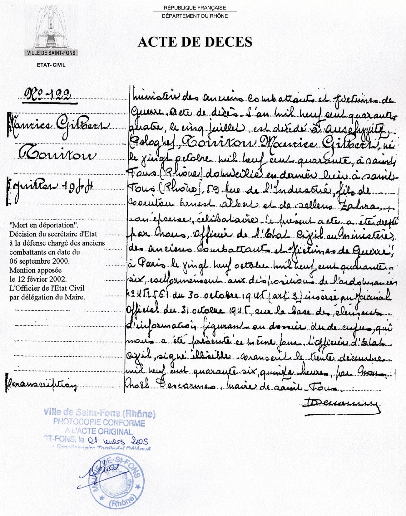 Acte de décès de Maurice, Touitou, Saint-Fons