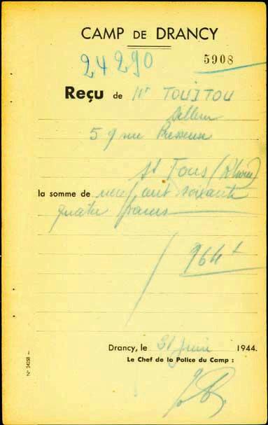 Reçu de Zahra Sellem, Touitou, Saint-Fons